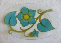 "zz Chance Glass ""Lotus"" retro vintage dish (stylised floral pattern) (SOLD)"